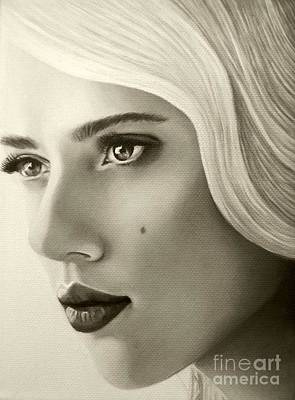 Art Print featuring the painting A Mark Of Beauty - Scarlett Johansson by Malinda Prudhomme