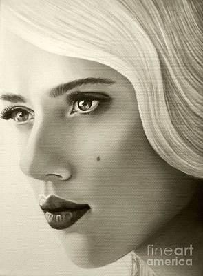 A Mark Of Beauty - Scarlett Johansson Print by Malinda Prudhomme