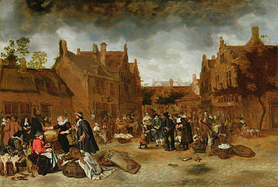 Trading Painting - A Marketplace In Winter, 1653 by Sybrandt van Beest