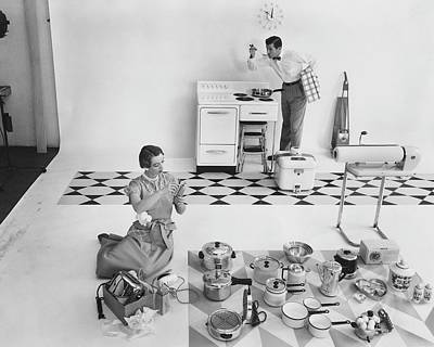 Toaster Photograph - A Married Couple With Kitchen Appliances by Herbert Matter