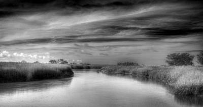 Photograph - A Marsh At Jekyll Island In Black And White by Greg Mimbs