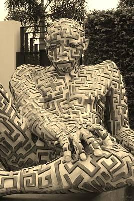 Katharine Hepburn - A Maze Ing Man 1 Sepia by Rob Hans