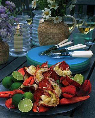 Tableware Photograph - A Meal With Lobster And Limes by Romulo Yanes