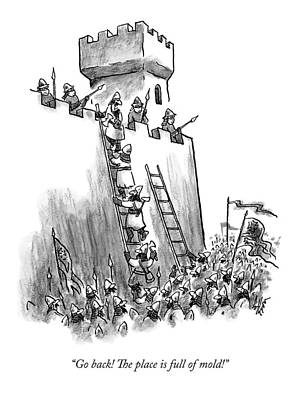 Medieval Castle Drawing - A Medieval Soldier Climbing A Ladder To The Top by Frank Cotham