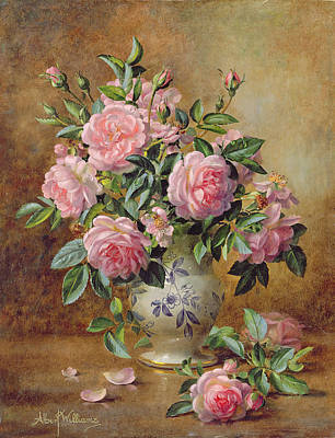 A Medley Of Pink Roses Print by Albert Williams