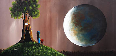 Big Moon Painting - A Memory She Once Knew Original Artwork by Shawna Erback