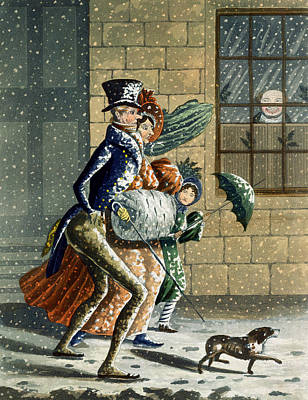 Dog Walking Painting - A Merry Christmas And Happy New Year by W Summers