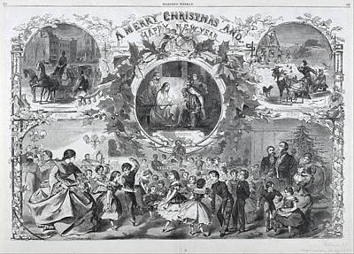 Winslow Homer Drawing - A Merry Christmas And Happy New Year by Winslow Homer