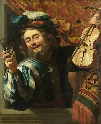 Netherlands Painting - A Merry Fiddler by Gerard van Honthorst
