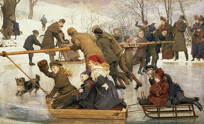Xmas Drawing - A Merry Go Round On The Ice, 1888 by Robert Barnes
