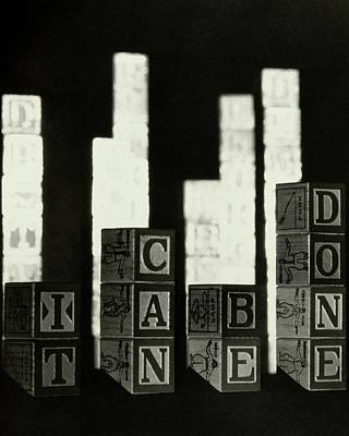 Cans Photograph - A Message In Wooden Blocks by Irving Browning