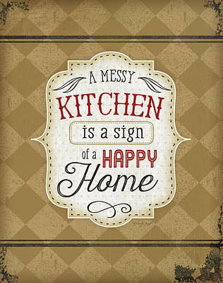 Dinner Painting - A Messy Kitchen by Jennifer Pugh