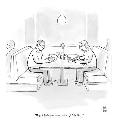 April 8th Drawing - A Middle Aged Woman Tells Her Husband by Paul Noth