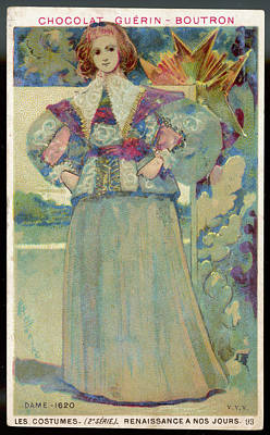 A Middle-class Lady In  Lacy Collar Art Print by Mary Evans Picture Library