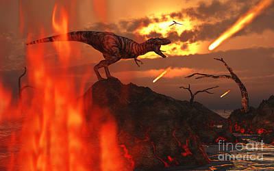 Destruction Digital Art - A Mighty T. Rex Roars As Fireballs Fall by Mark Stevenson