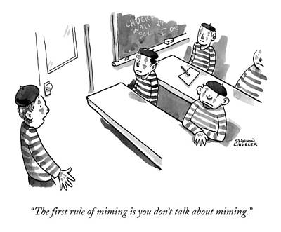 Teachers Drawing - A Mime Teacher Stands In Front Of A Mime Class by Shannon Wheeler