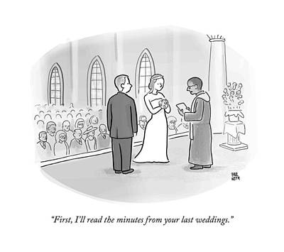 A Minister Performing A Wedding Speaks Art Print by Paul Noth