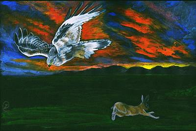 Hawk Hill Painting - Battle Of Wits - Hawk And Rabbit by Zong Yi