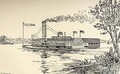 Flag Of Usa Drawing - A Mississippi Steamer Off St Louis From American Notes By Charles Dickens  by EH Fitchew