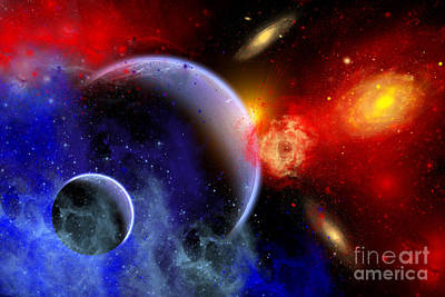 Surrealism Royalty-Free and Rights-Managed Images - A Mixture Of Colorful Stars, Planets by Mark Stevenson