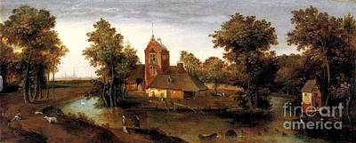 Grim Painting - A Moated Tower With Farmhouses by Abel Grimmer