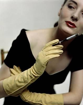 Photograph - A Model Holding A Alfred Orlik Cigarette Holder by Serge Balkin