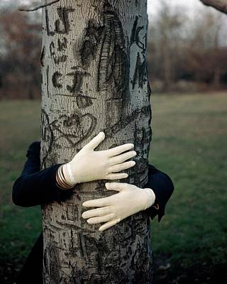 Hand Engraving Photograph - A Model Hugging A Tree by Frances Mclaughlin-Gill