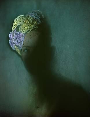 Bouquet Photograph - A Model In A Hattie Carnegie Bouquet by Constantin Joffe