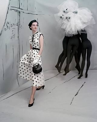 White Gloves Photograph - A Model In A Mollie Parnis Dress by Horst P. Horst