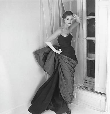 Strapless Photograph - A Model In A Schiaparelli Dress by Henry Clarke