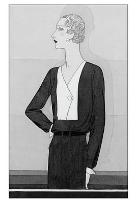 A Model In A Schiaparelli Suit Art Print by Douglas Pollard