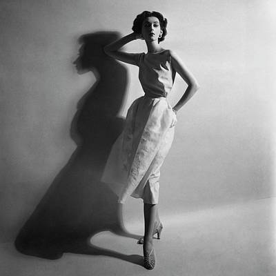 Hand On Head Photograph - A Model In A Sheath Dress by Cecil Beaton