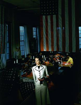 Flag Photograph - A Model In Front Of An American Flag by Horst P. Horst