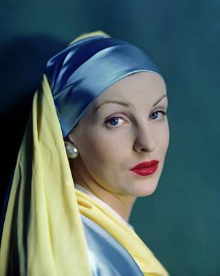 A Model In The Style Of Johannes Vermeer's Girl Art Print by Erwin Blumenfeld