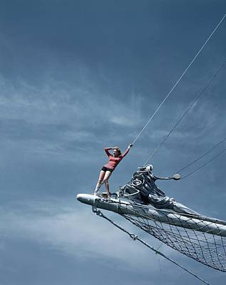 Bathing Suit Photograph - A Model On A Ship by Toni Frissell