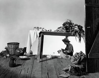 Healthy Food Photograph - A Model Peeling Potatoes by Horst P. Horst