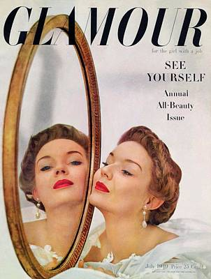 Woman Head Photograph - A Model Posing Against A Mirror by John Rawlings