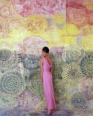 Pink Photograph - A Model Posing By A Colorful Mural by William Bell