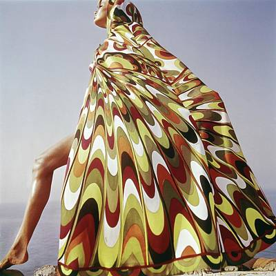 1960s Fashion Photograph - A Model Posing In A Colorful Cover-up by Henry Clarke