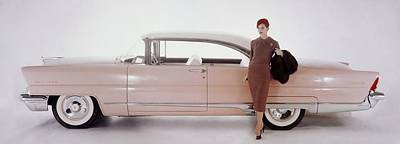 A Model Posing In Front Of A Vintage Car Print by Karen Radkai