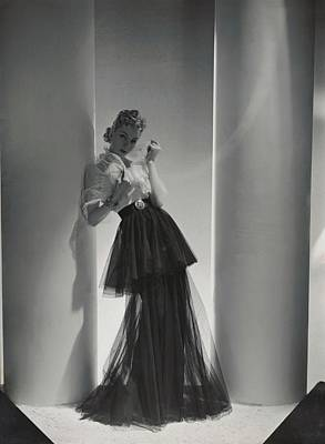 Hair Jewelry Photograph - A Model Wearing A 1930s Style Evening Gown by Horst P. Horst