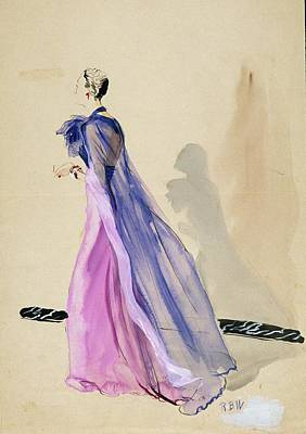 Fashion Digital Art - A Model Wearing A Blue Cape And Pink Chiffon by Rene Bouet-Willaumez