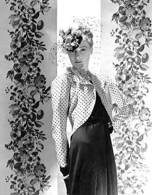 Photograph - A Model Wearing A Bolero Jacket And Necklaces by Horst P. Horst