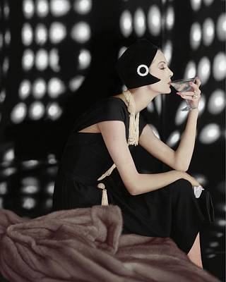 Headgear Photograph - A Model Wearing A Branell Dress by Karen Radkai