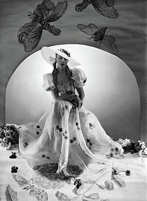 A Model Wearing A Bridesmaid Dress Art Print by Horst P. Horst