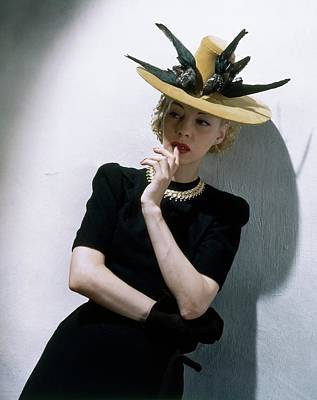 Black Necklace Photograph - A Model Wearing A Buccaneer Hat by Toni Frissell