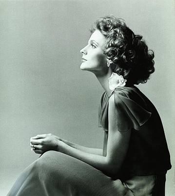 Chiffon Photograph - A Model Wearing A Chiffon Dress by Francesco Scavullo