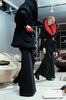 Photograph - A Model Wearing A Coat With An Oversized Collar by Kourken Pakchanian