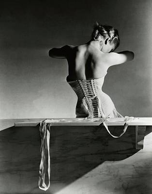 Sitting Photograph - The Mainbocher Corset by Horst P Horst