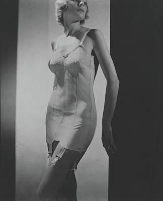 A Model Wearing A Corset Art Print by Horst P. Horst